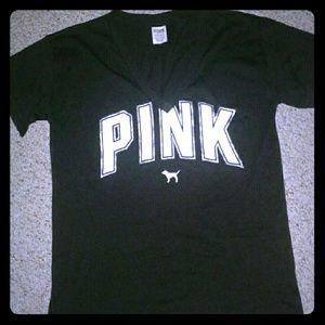 PINK v-neck black logo tee